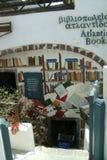 希腊,圣托里尼,对书店的入口 免版税图库摄影