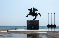 希腊,塞萨罗尼基 对亚历山大大帝的纪念碑 库存图片