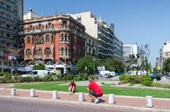 希腊,塞萨罗尼基 红色房子或豪宅商标 库存照片