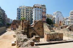 希腊,塞萨罗尼基 罗马Emper的宫殿的废墟 库存图片