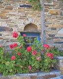 希腊,有蓝色窗口和花的石墙 免版税库存图片