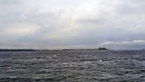 希腊,科孚岛海岛:从轮渡甲板的看法 库存图片