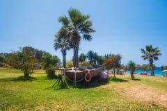 希腊,罗得岛- 7月16日海滩疆土Dionysos 2014年7月16日的Steki Restauran在罗得岛,希腊 库存图片