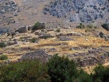 希腊,迈锡尼,看法其中一最旧的解决 库存图片