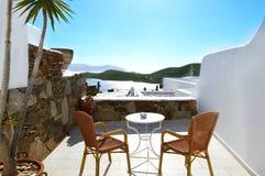 希腊, Ios晴天,欧洲 山和海景 库存照片