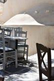 希腊,Ios,在夏天下午的村庄正方形 库存照片