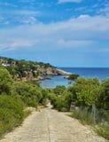 希腊,Thassos海岛  从山的美丽的景色到海洋和自然 自然全景在希腊 免版税库存照片
