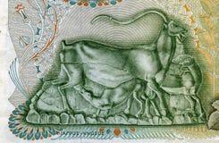 希腊-大约1960年:护理他的500德拉克马的高地山羊小婴孩 免版税库存图片