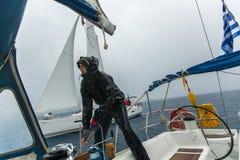 希腊-水手参加航行赛船会 图库摄影