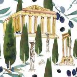希腊 手拉的水彩backg传统化了有蓝色半球形的屋顶的小白色背景的房子和小窗口和海 图库摄影