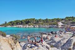 希腊- 5月19 :美丽的Portokali海滩在希腊, 5月19日, 库存照片
