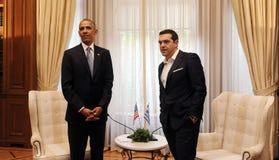 希腊总理阿列克西斯・齐普拉斯,权利,与U讲话 S 前 免版税库存图片