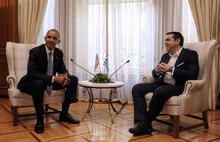 希腊总理阿列克西斯・齐普拉斯,权利,与U讲话 S 前 免版税图库摄影