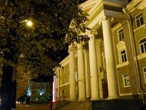 希腊建筑学和秋天在一张照片 免版税库存照片
