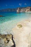 希腊-莱夫卡斯州- Agiofili海滩 库存照片
