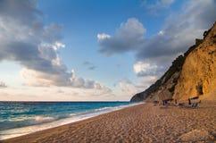 希腊-莱夫卡斯州- Egremni海滩 库存图片