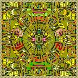 希腊3d盘区设计 河曲五颜六色的坛场样式 正方形 库存图片