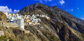 希腊- imprssive Olimbos的美丽的村庄 免版税库存照片