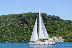 希腊ithaki海岛,传统航行游艇 库存图片