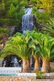 希腊loutraki瀑布 库存图片