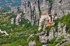 希腊meteora修道院rousannou 库存图片