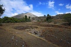 希腊mycenae 铜器时代坟茔和上城巨大墙壁  免版税库存照片