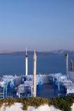 希腊oia餐馆santorini设置城镇 免版税库存图片