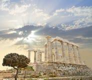 希腊poseidon寺庙 免版税图库摄影