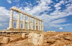 希腊poseidon sounio寺庙 免版税图库摄影