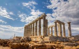 希腊poseidon sounio寺庙 库存图片
