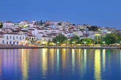 希腊pylos南部的城镇 库存照片