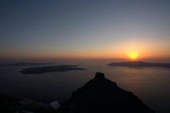 希腊santorini日落 库存照片