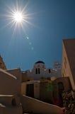 希腊santorini村庄 库存图片