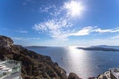 希腊santorini海运视图 库存图片
