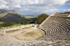 希腊segesta剧院 免版税库存照片