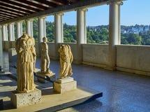 希腊sulptures在Attalos Stoa  集市古老雅典 Attica,希腊 免版税图库摄影