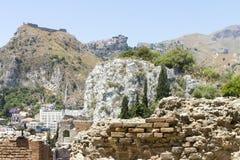希腊taormina剧院 库存照片