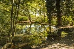 希顿公园的大池塘在大曼彻斯特郡 库存图片