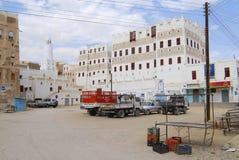 希巴姆镇, Hadramaut谷,也门中心广场  免版税图库摄影