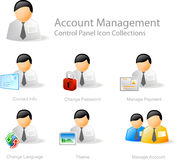 帐户图标管理 免版税库存照片