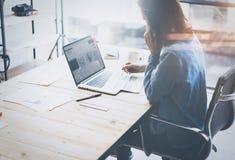 帐户经理运作的过程 年轻女商人与新的起始的项目一起使用在办公室 分析文件,计划 免版税库存照片