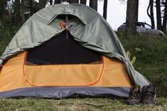 帐篷在森林里 免版税库存图片