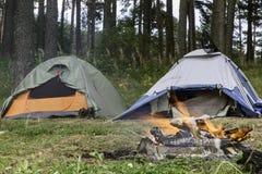 帐篷在森林里 免版税库存照片