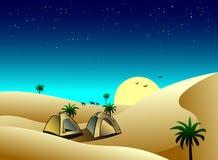 帐篷在沙漠 向量例证