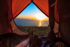 从帐篷的视图 免版税库存照片