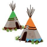 帐篷,由土著人民,北美的传统住宅 皇族释放例证