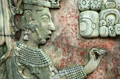 帕伦克,墨西哥, 2015年12月15日:玛雅人图象和玛雅w 免版税库存照片