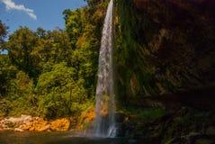 帕伦克,恰帕斯州,墨西哥:美丽的瀑布在晴朗的天气的Misol Ha 库存照片