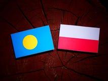 帕劳下垂与在被隔绝的树桩的波兰旗子 库存例证