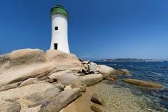 帕劳灯塔在撒丁岛,意大利 免版税库存照片